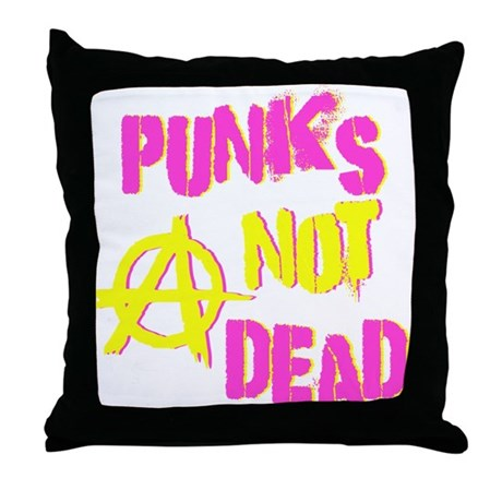 Punks Not Dead Throw Pillow