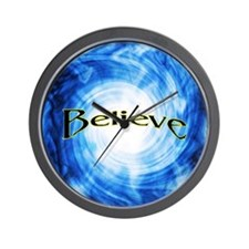 """Believe"" Vortex Blue Clock"