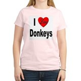 I Love Donkeys Women's Pink T-Shirt