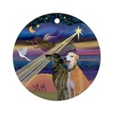 Christmas Star & two Greyhounds Ornament (Round)
