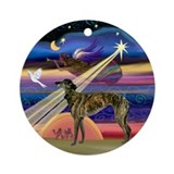 Christmas Star Brindle Greyhound Ornament (Round)