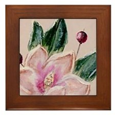 """Magnolia Tile Painting"" Framed Tile"