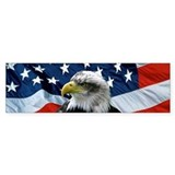 Bald Eagle American Flag Bumper Car Sticker