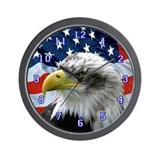 Bald Eagle American Flag Wall Clock
