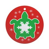 Snowflake Sea Turtle Ornament (Round)