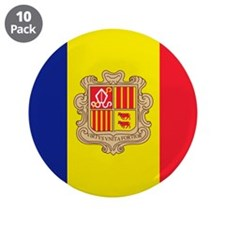 "Flag of Andorra 3.5"" Button (10 pack)"