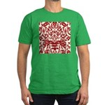 Red Damask Retro Florentine Men's Fitted T-Shirt (