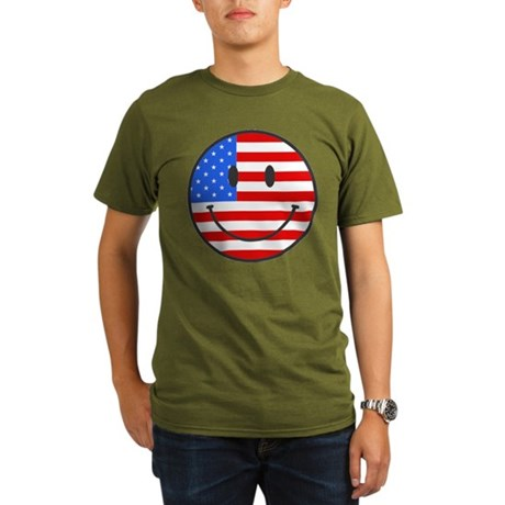 4th Of July Happy Smile Organic Men's T-Shirt (dar