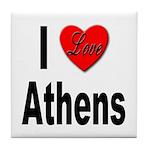 I Love Athens Greece Tile Coaster