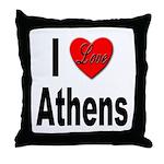 I Love Athens Greece Throw Pillow