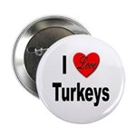 I Love Turkeys Button