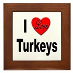 I Love Turkeys Framed Tile