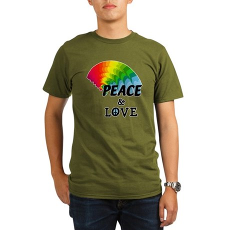 Rainbow Peace and Love Organic Men's T-Shirt (dark