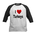 I Love Turkeys Kids Baseball Jersey