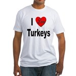 I Love Turkeys (Front) Fitted T-Shirt