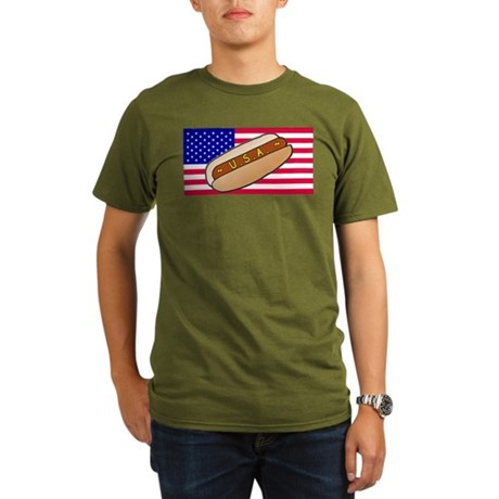 USA Hotdog Organic Men's T-Shirt (dark)