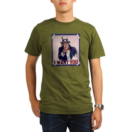 Uncle Sam Poster Organic Men's T-Shirt (dark)