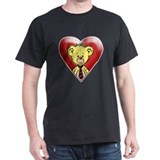 Teddy Bear Heart Black T-Shirt 1 sided