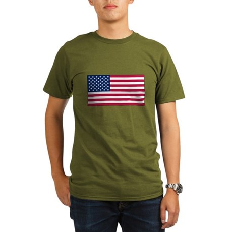USA Flag Organic Men's T-Shirt (dark)