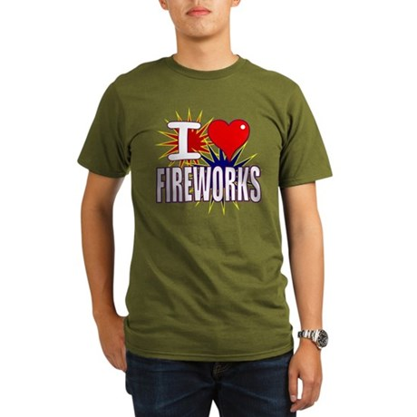 I heart fireworks Organic Men's T-Shirt (dark)