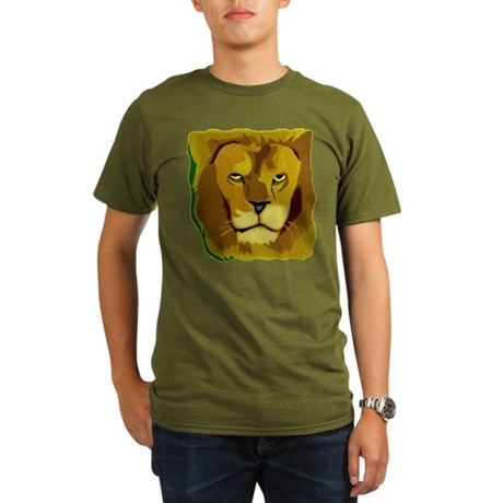Yellow Eyes Lion Organic Men's T-Shirt (dark)