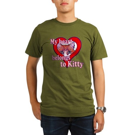 My heart belongs to kitty Organic Men's T-Shirt (d