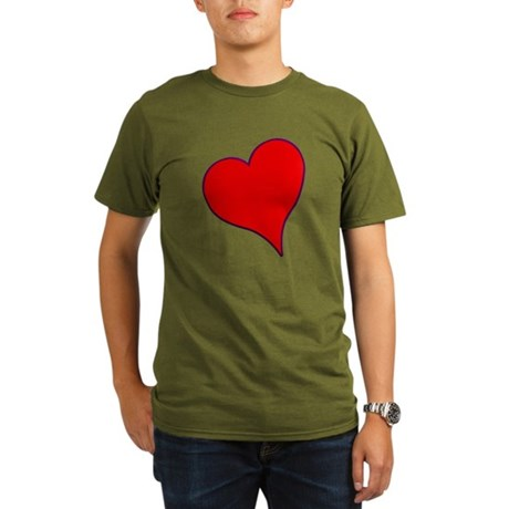 Big Red Heart Valentine Organic Men's T-Shirt (dar