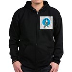 Military Cow in Camo Zip Hoodie (dark)
