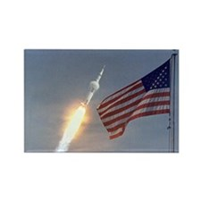 Apollo 11 Launch & Flag Rectangle Magnet