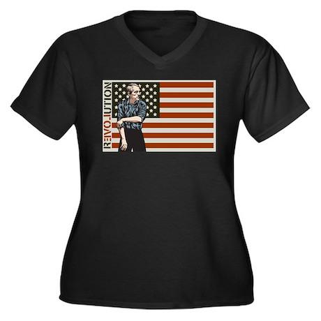 Ron Paul Women's Plus Size V-Neck Dark T-Shirt