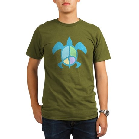 Peace Sea Turtle Organic Men's T-Shirt (dark)