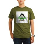 Green CheerLeader Penguin Organic Men's T-Shirt (d