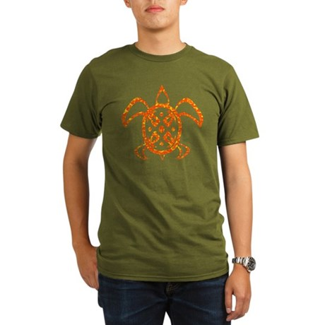 Orange Sea Turtle Organic Men's T-Shirt (dark)