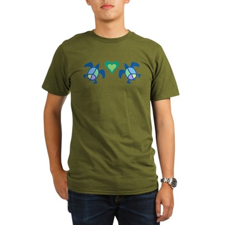 Peace Heart Sea Turtles Organic Men's T-Shirt (dar