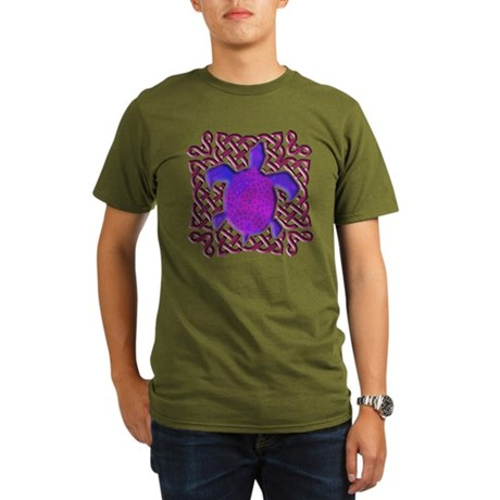 Celtic Knot Turtle (Purple) Organic Men's T-Shirt