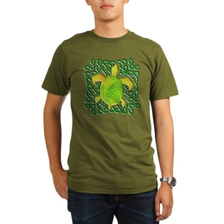 Celtic Knot Turtle (Green) Organic Men's T-Shirt (