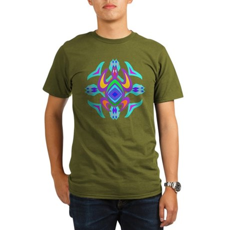 Turtle Symmetry Pattern Organic Men's T-Shirt (dar