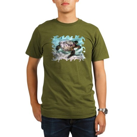 Swimming Sea Turtle Organic Men's T-Shirt (dark)