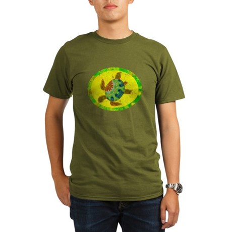 Distressed Turtle Organic Men's T-Shirt (dark)