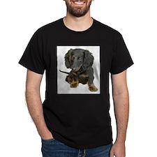Black brindle longhaired Dachshund T-Shirt