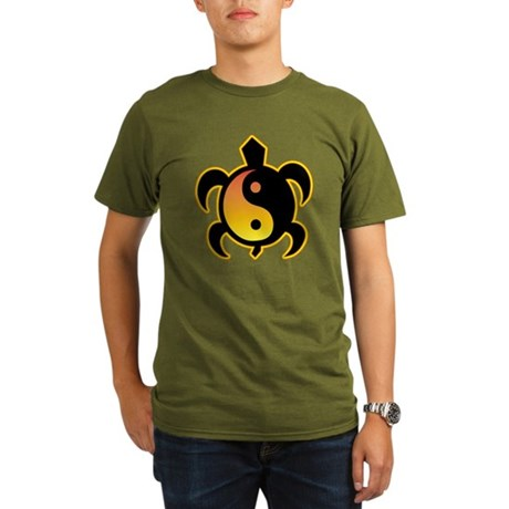 Gold Yin Yang Turtle Organic Men's T-Shirt (dark)