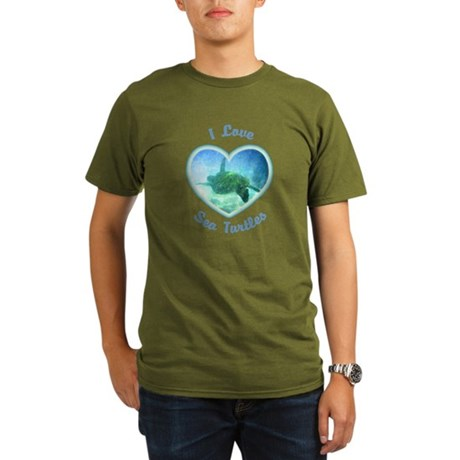 I Love Sea Turtles Organic Men's T-Shirt (dark)