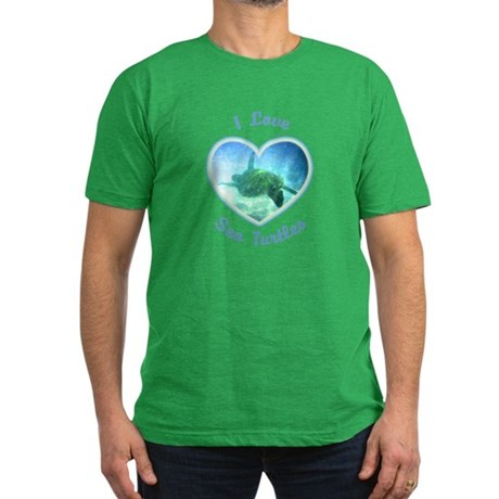 I Love Sea Turtles Men's Fitted T-Shirt (dark)