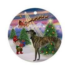 Santa's Take Off & Greyhound Ornament (Round)