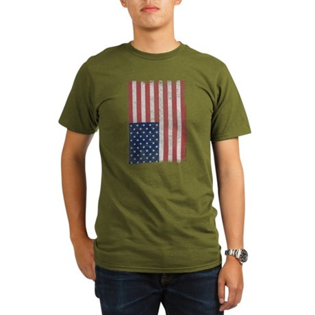Distressed American Flag Organic Mens Dark T-Shirt