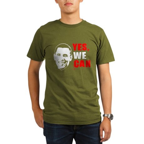 Obama Yes, We Can Organic Mens Dark T-Shirt