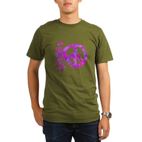 Pink Peace Organic Men's T-Shirt (dark)