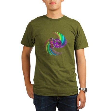 Rainbow Spin Peace Organic Men's T-Shirt (dark)