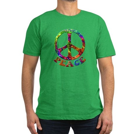 Jewelled Peace Symbol Men's Fitted T-Shirt (dark)
