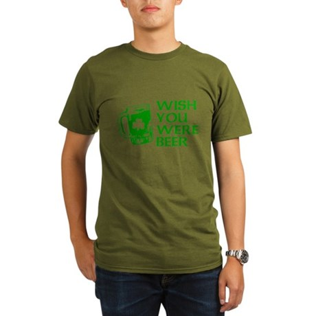 Wish You Were Beer Organic Mens Dark T-Shirt